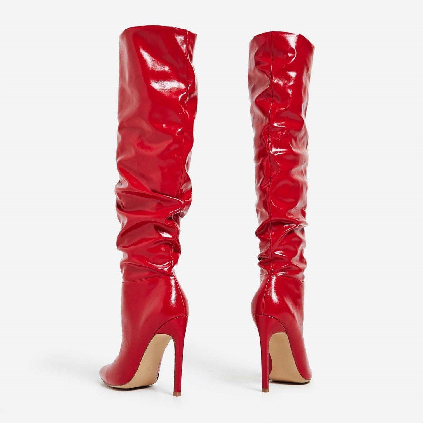 Високи набръчкани ботуши  MINAJ - чевени